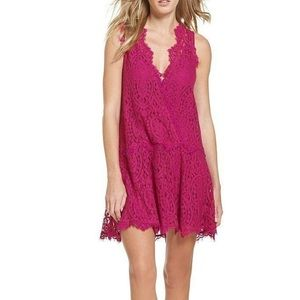Free People hot pink lace holiday mini dress